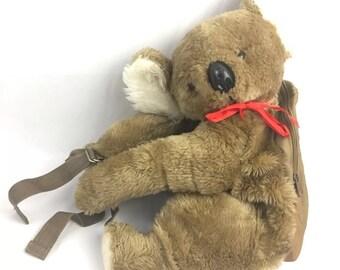 Vintage Hug a Pet Koala Bear Backpack, Kids Childrens Bag, Dover, Plush, 1980s