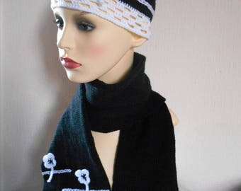 Elegant crochet knit 2 piece set,  Black and white colour hat and scarf, Birthday gift, Gift for her