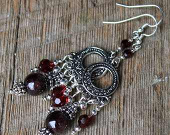 Silver, Garnet, and Swarovski Crystal Chandelier Earrings