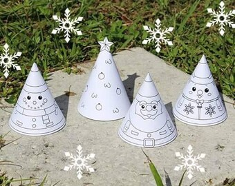 Christmas Paper Ornament Cone for Kids (Black and White)