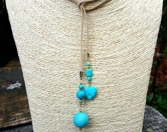 Teal & Tan Lariat Style Necklace/Choker With Heart