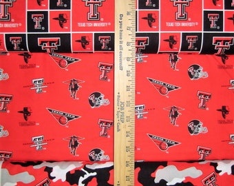 NCAA Texas Tech Red Raiders Red & Black College Logo Cotton Fabric by Sykel! [Choose Your Cut Size]