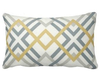 blue yellow grey pillows, grey pillows, lumbar pillows, trellis pillows, chair pillows, decorative pillows, grey yellow blue accent pillows