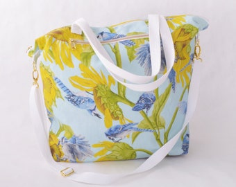 Weekender Tote - Blue Jay and Sunflower