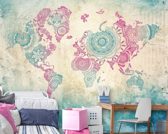 World map wall mural wallpaper wall dcor wall decal world map in teal and pink wall mural mandala world map wallpaper wall dcor gumiabroncs Image collections