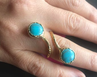 Gemstone Ring , Turquoise Ring, Double stone ring, Gold Filled Ring, Adjustable ring