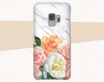 Flower Galaxy S9 Case, Floral Galaxy S9 Plus Case, S9 Phone Case, Flowers Marble, Galaxy S9, Samsung Galaxy S8 Case, S8 Plus, Samsung Note 8