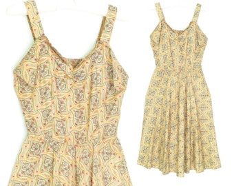 40s sun dress * 1940s dress * vintage sundress * butter cream summer dress  * xxs / xs