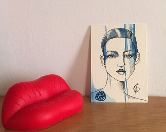 ACEO, dollhouse mini painitng, 3.5*2.5 inches drawing, artist trading card, miniature