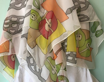 Hand painted silk scarf, fruits square design, 100% chiffon silk scarf, designed by NhiArt - Free U.S. shipping for all scarves