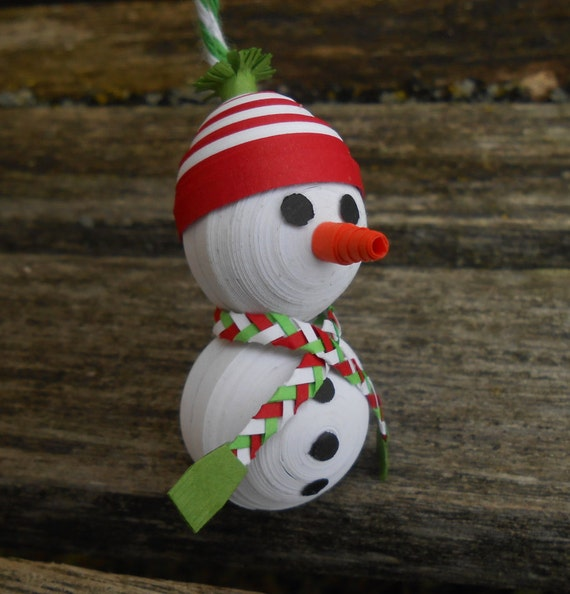 Snowman Ornament. Quilled Paper Tree Decoration, Christmas, Kid's Gift, Mom, Dad, Unique Stocking Stuffer, Scarf, Hat, Beanie