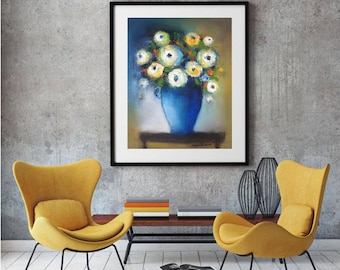 "Abstract floral painting, White flowers, Blue vase, Oil Canvas Original still life 16""x20"" contemporary art,mustard yellow and blue wall art"