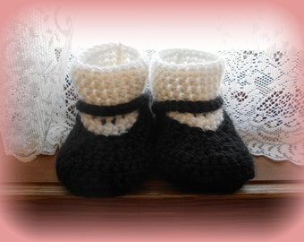 Crochet baby Mary Jane Socks booties 0-6m, 6-12m sizes available!