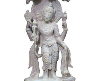 "Handmade Vintage 6"" Yoga Decor Statue Standing Vishnu Sculpture Home Temple Puja Idol Gorara Stone"