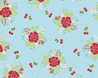 Sew Cherry 2 - Per Yd - Riley Blake - by Lori Holt - Main print Red flowers on Aqua