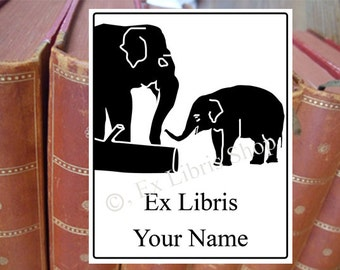 "Bookplate stamp or stickers ""Elephants"", exlibris, personalized exlibris, custom book stamp, librarian stamp, library stamp,elephant stamp07"