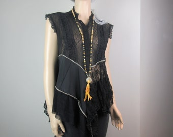 Lagenlook Boho Tunic Lace Black Madonna Shabby Romantic Chic Layered Ruffled Elegant One Size Fits S - L