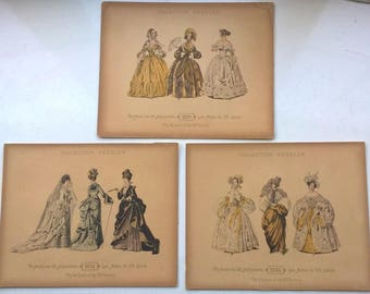 3 x Original Antique Fashion Prints Collection Geszler Fashions of the 19th Century