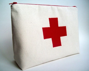 "Red Cross  Medicine Pouch / First aid kit 10"" x 7"" x 3"""