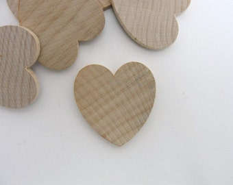 "50 Wooden hearts 1 1/4 inch (1.25"") wide 1/8 inch thick unfinished wood hearts diy"
