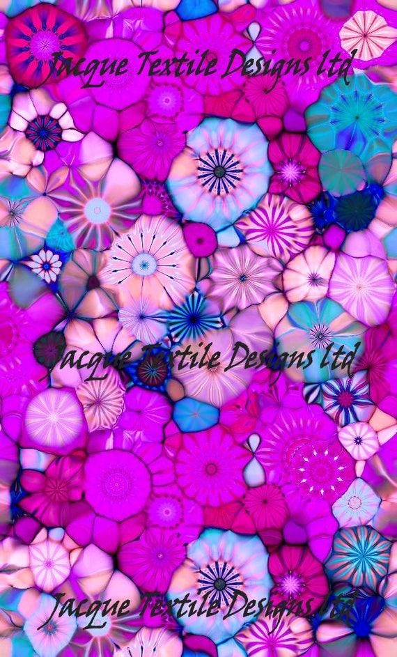 Purple Pink Flower Kaleidoscope Artisan Made Kona Cotton Quilting Textile Art Fabric Panel