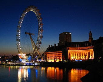 London Eye Sunrise - British Inspired Home Decor - Travel Photography - 2012 Olympics - UK Art - Night Photography - Fine Art Photography