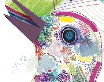 neon bird mixed media illustration art print