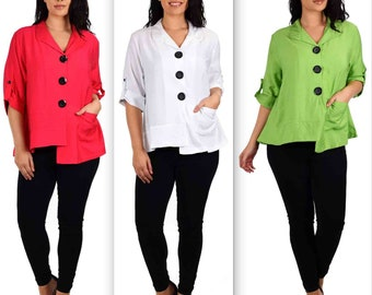 Captivating Cutie with details. New Plus size Blouse, Lagenlook blouse, Asymmetrical blouse, Medium, Large, XL and 1XL