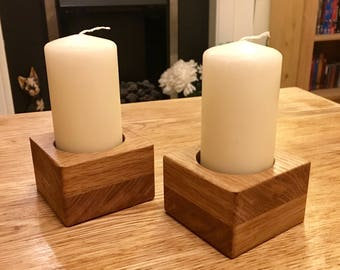 Oak Pillar candle Holders (Pair)