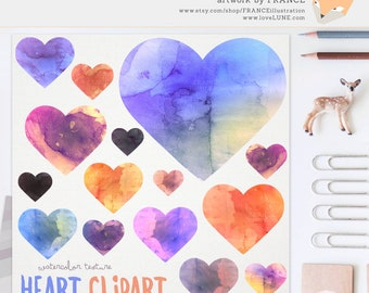 3 FOR 2. Watercolor Heart Clip Art, Hand Drawn Illustration Clipart. Logo Design, Valentines + Embellishments. Love Clipart. Painted Hearts.