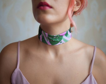 "Pink Monstera"" Pattern printed thick fabric choker necklace collection"