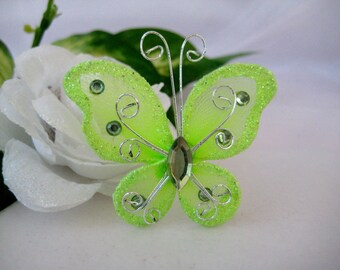 """2"""" Green Nylon Butterflies for Baby Shower, Wedding Decor, Hair Accessories, Table Scatters, Christening Favors, 12 pieces"""