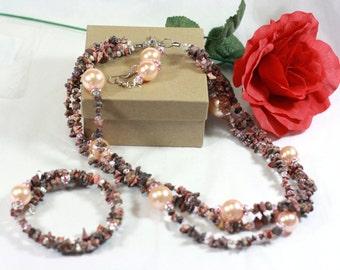 Leopard skin Jasper Gemstone and crystal bead 3 layer handmade One of a Kind jewelry set / womens jewelry / necklace earrings bracelet
