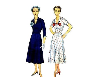 SALE 1950s Misses One Piece Dress Simplicity 4600 Vintage Sewing Pattern Size 18 Bust 36