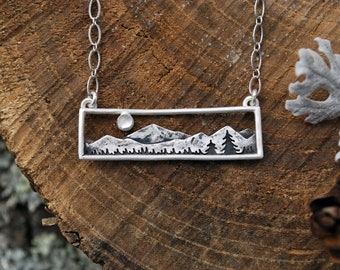 Moonstone Mountain Range Bar Necklace - Moon, Mountains and Trees Landscape Necklace - Moonstone and Sterling Silver - Everyday Necklace