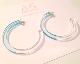 Ombre Blue and Clear Hoop Earrings - Bold Laser Cut Hand Dyed Dip Dyed Gradient Acrylic Perspex Geometric Earrings