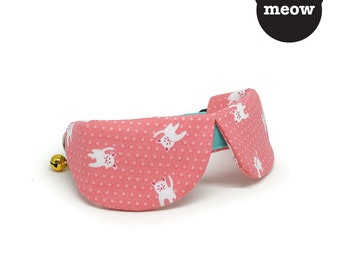 GOOOD Cat Collar | Dapper Round - Pretty Kitty | 100% Coral Pink & Turquoise Cotton Fabric | Safety Breakaway Buckle