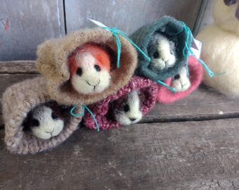 Adorable Mini Guinea Pig Needle Felted Wool Easter Basket Valentine's Day Birthday Gift Present Pet Pets Animals