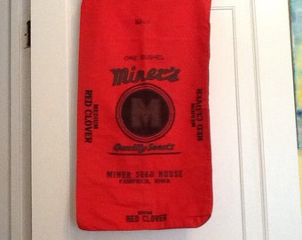 Vintage Red Clover Seed Sack Cotton Bag Miner's Iowa