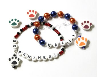 Paw Print Charm Bracelet. YOU CHOOSE COLOR Personalized bracelet. Sport Team Gift Team Name Paw Print Mascot Tigers, Panthers, Wildcats