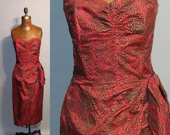 Vintage 1950's Alluring in Red 50's Strapless Sarong Taffeta Velvet Floral Fitted Bombshell Womens Dress - S