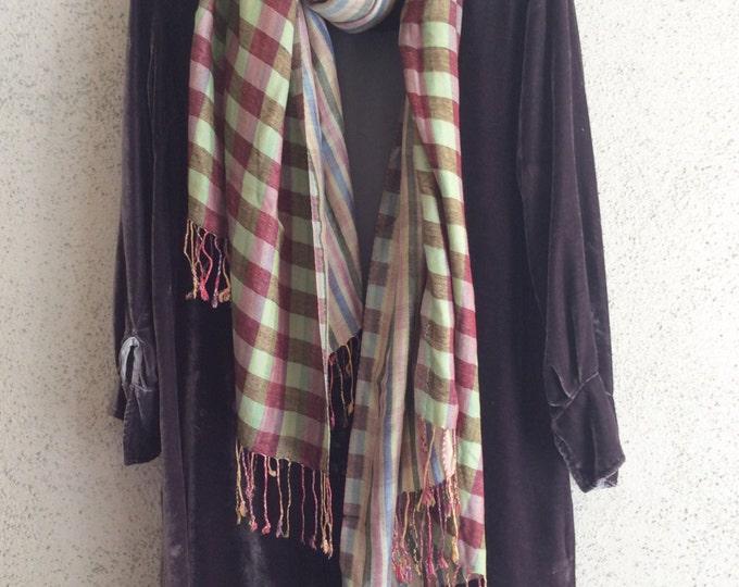Reversible plaid fringed scarf