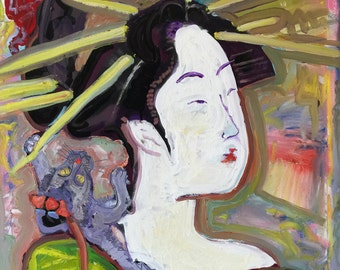 Japanese Art Geisha Painting by Matt Pecson Canvas Art Canvas Painting Pop Art Painting Girlfriend Gift for Her Gift for Mom MADE TO ORDER