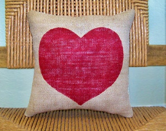 Valentine's decor, Heart pillow, Valentine's gift, Red pillow, Burlap pillow, Love pillow, stenciled pillow, FREE SHIPPING!