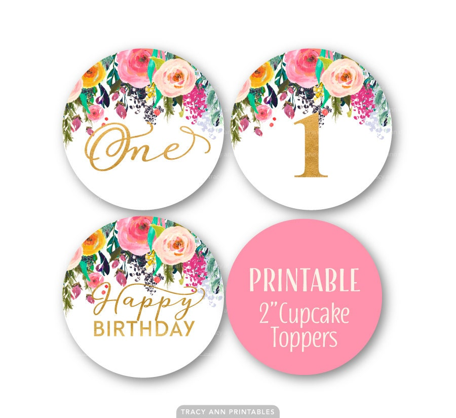 Happy Birthday Cupcake Topper ~ First birthday cupcake toppers st decor glitter