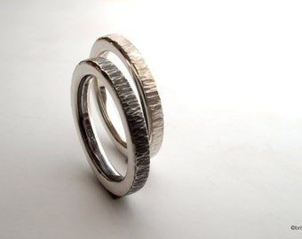 Silver hammered ring, a pair of handmade stacking rings, silver wedding bands, forged silver rings