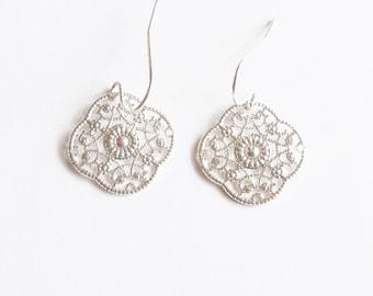 Earrings Silvertone Filigree Diamond Shaped Handmade Jewelry Jewellery Gift Guide Women Repurposed Parts