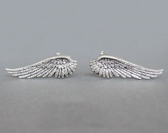 Wing Cufflinks Men's Cufflinks Gothic Cufflinks Victorian Style Angel Wings Steampunk Cufflinks Antique Silver Men's Gifts