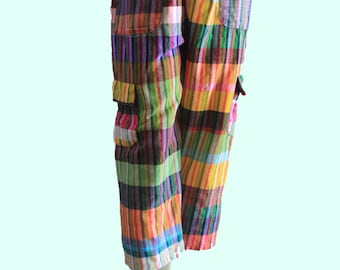 Vintage Brightly Colored Andean/Peruvian Drawstring Cargo Cropped Pants