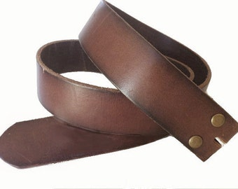 Premium Quality Distressed Brown Leather snap on Belt Strap - 1.5'' - Removable - Pick your Size - Sale - for buckle